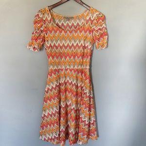 NY Collection Salmon & Orange Chevron Dress